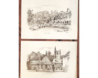 Two Prints with Views of village of Castle Combe, England