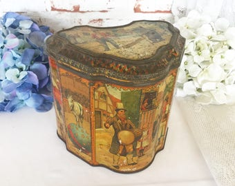 Stunning Antique Showman Biscuit Tin Litho Box, Punch and Judy Circus Fair RARE Vintage Huntley & Palmers Advertising, Decorative canister
