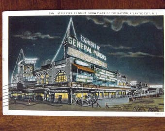 Vintage Postcard Of Atlantic City NJ Steel Pier By Night_Show Place Of The Nation Atlantic City NJ Postcard 1930's