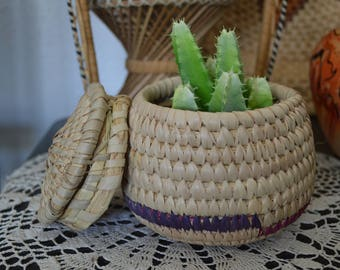 Small Woven Basket • Vintage Planter/Container