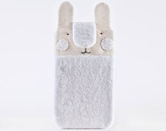 White Bunny Samsung Galaxy S8 case, Fluffy iPhone 7 Plus sleeve, Cute iPhone 6 Plus sleeve, Gift for Her, iPhone 7 case