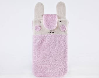 iPhone 8 Case, Pink Bunny iPhone 7 plus case, Fluffy Samsung Galaxy S8 case, iPhone 7 Plus sleeve, Cute iPhone 6 Plus sleeve, Gift for Her