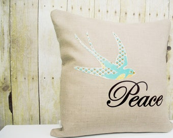 Peace Pillow Cover, Personalized Pillow, Spring and Summer Home Decor, Cottage Chic Home Decor, Country Home Decor, blue bird pillow cover.