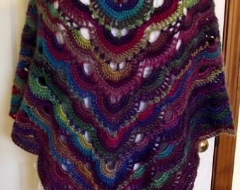 Crochet Poncho, Crochet Top, Purple Poncho, Handmade Poncho, Fuschia Gold Turquoise, Layer Look, Lagenlook, Lacy, Scallop, Airy