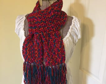 Handmade Crochet Scarf, Bright Scarf, Neck Wrap, Red Orange Teal, Art Scarf, Soft Scarf
