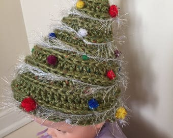 Christmas Tree Hat, Crochet Baby Hat, Soft Hat, Infant Cap, Chemo Cap, Decorated Baby Hat, Novelty Hat