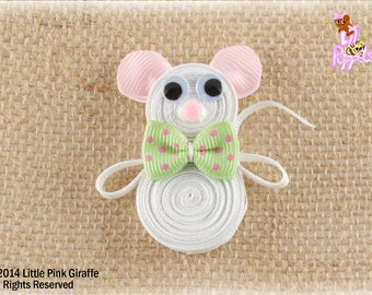 Lil' Poppet™ Mr. Whiskers, Mouse Ribbon Sculpture Hair Clip or Brooch Pin