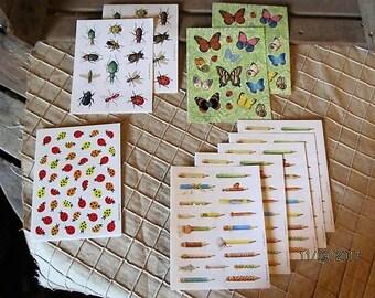 10 Sheets Vintage Hallmark Stickers 80's 90's -Marjolein Bastin Nature Pencils Beetles Butterflies Ladybugs