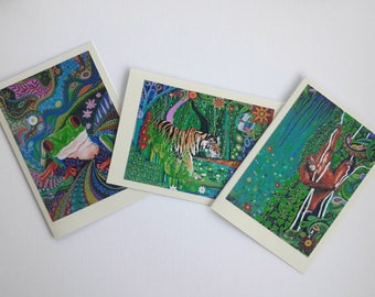Art Nouveau Pagan Exciting Original Tiger Frog Orangutan Jungle Animals Greeting Cards Colorful Folk and Mindulfness Art Pack of 3
