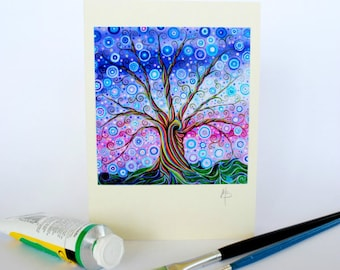 Tree of Life Psychedelic Greeting Card Birthday Art Card by Mark Betson Artist Candy Tree