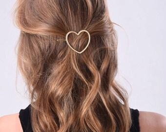 Gold heart hair clip, Metal Clip, Minimalist Hair Clip, Minimalist Hair Accessory, Geometric Hair Clip, Hair Barrette, Stylish Hair Clip