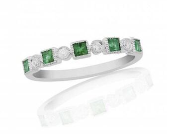 Emerald & Diamond 18ct Band