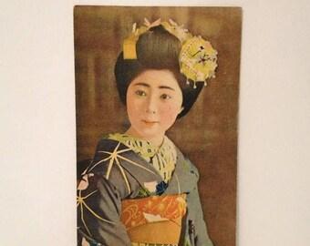 ON SALE Vintage Old Early 1900's Geisha Girl Japanese Postcard Antique