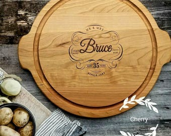 40th Anniversary Gift, Round, Personalized Wooden Serving, 40th wedding anniversary gift for Parents, Personalized for ANY anniversary