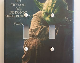 Star Wars Yoda No Try Not // Light Switch Cover // SAME DAY SHIPPING**