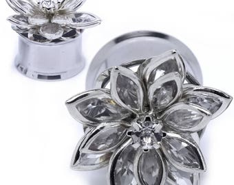 Clear Gem Flower Multi Petals Ear Gauges double saddle stainless steel