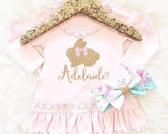Baby girl Easter dress, my first Easter, pink Easter dress, baby girl clothes, girls clothing personalized my first Easter dress