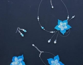 Set wedding Bridal jewelry set - turquoise, white or ivory - necklace, bracelet, earrings and hair jewelry