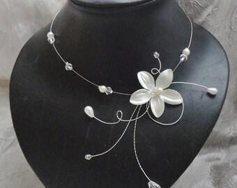 Collier mariée mariage soirée Fleur de soie ivoire Carly  Necklace wedding evening ivory silk flower Amour bridal bride