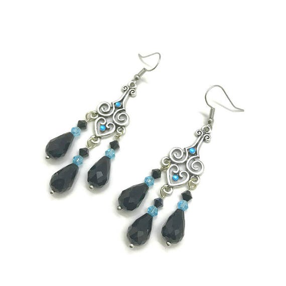 Black Chandelier Earrings Black and Blue Earrings Black