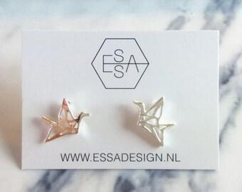 35% Discount Geometric bird earring silver or gold