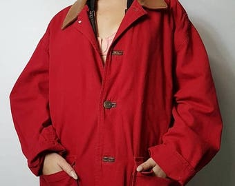 Red barn coat | Etsy
