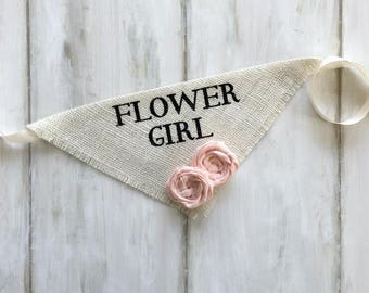 X-Large READY TO SHIP Ivory Flower Girl Bandana with Fabric Flowers Wedding Collar Girl Engagement Save the Date Photo Prop