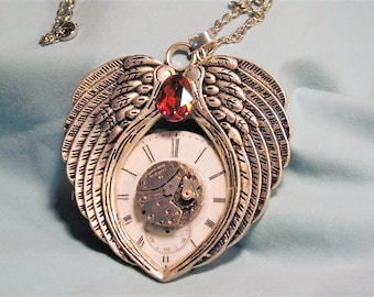 Steampunk Vintage Watch Movement Winged Heart Dial and Jewel  Pendant with Chain OOAK