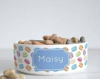 ON SALE Personalised Macaron Pet Bowl - Dog Cat Feeding Dish - Macaroons P32