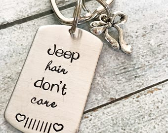 Jeep keychain - Hand stamped keychain - Jeep lovers - Jeep hair don't care - Gift for a jeep owner - Fun keychain - Jeep girl