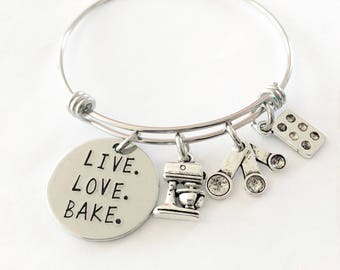 Hand stamped jewelry, Gift for baker, Baking bracelet, Live Love Bake, Hand stamped bracelelt, Baker jewelry, Baker bracelet, Baking gift