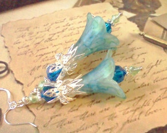 Lucite Earrings, Flower Earrings, Green and Blue, Victorian Earrings, Boho Earrings, Drop Earrings, Filigree Silver, Hand Painted Earrings