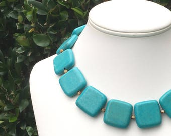 Chunky Turquoise Necklace SQUARE TURQUOISE Necklace Large Turquoise Necklace Square Gemstone Necklace Turquoise STATEMENT Necklace 25mm