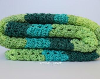 Crochet Baby Blanket | Green Blue Blanket | Baby Blanket | Caron Cake | Blankets & Throws | Baby Boy Blanket | Baby Shower Gift | Bedding