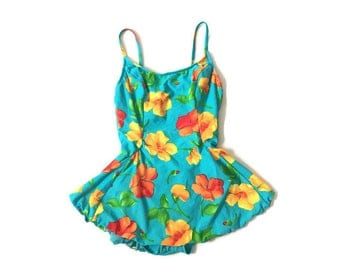 Vintage Floral One piece with a skirt