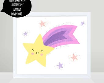 Shooting Star, Star, Star poster, Star decoration, Star wall art, nursery wall art, kid wall art, purple star, star printable, cute star