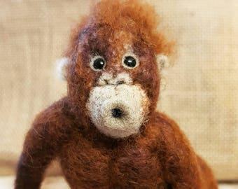 """Needle felt orangutan,""""Doug"""" the baby orangutan"""