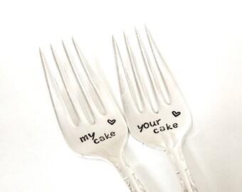 My cake Your cake forks, vintage cake fork set, hand stamped dessert forks, Ready to ship forks, Engraved cake forks, Wedding cake forks