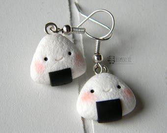 Onigiri kawaii, Sushi, earrings, Earrings