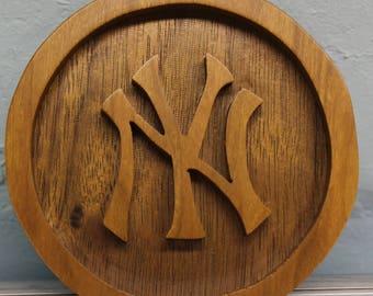 scroll saw cut New York Yankees hanging ornament