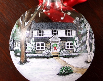 Custom House Ornament with Landscape, Personalized, Hand Painted from Your Photo, Home & Living - Christmas Gift Idea