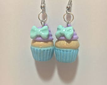 Kawaii Pastel Cupcake Earrings with Mint Bows