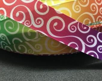 """3 yards 7/8"""" multicolored swirl loop tie dye grosgrain ribbon"""