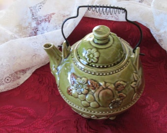 Vintage Pot Belly Flowered Teapot