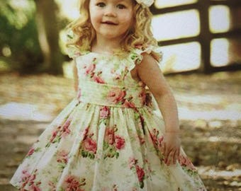 girl party dress with butterflies, and hair bows
