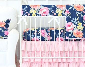 Navy Midnight Floral Girl Crib Set | Watercolor Baby Girl Crib Bedding, navy, pink, coral | Dark Floral Baby Bedding | Floral Nursery
