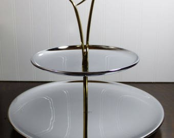 Large Silver Polished Chrome 2 Tier Serving Tray with Base * Metal Tidbit Tray * Gold Tone Atomic Handle * Mid Century Style