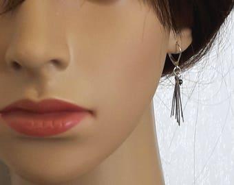 Gray tassel earrings, and Pearl Swarovski element. Sterling Silver 925
