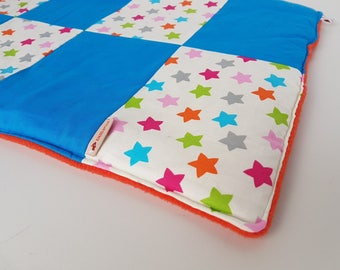 Small Patchworkdecke Dog blanket/cat blanket blue with an asterisk fabric approx. 55 x 37 cm
