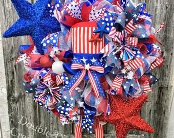 XL Uncle Sam Deco Mesh Wreath, Patriotic Deco Mesh Wreath, 4th of July Wreath, USA Wreath, July 4th Wreath, Patriotic Decor, Americana Decor